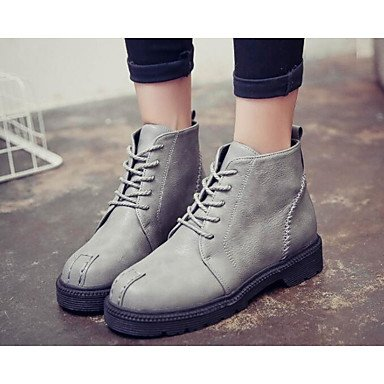 Comfort Casual Gray Winter Brown Fall Real Boots Fashion Women's PU Gll Khaki amp;xuezi Flat Boots Black Leather Ruby Black tBOPq