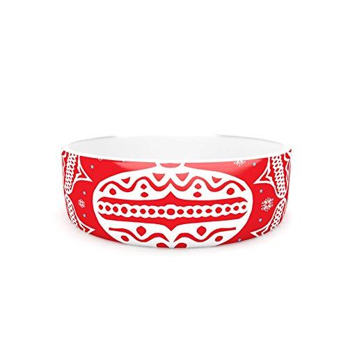 Kess InHouse Miranda Mol Deco Wreath Red  Pet Bowl, 7-Inch, Scarlet