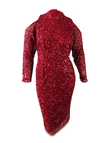 - Adrianna Papell Women's Plus Sequined Sheath Dress Red 16W