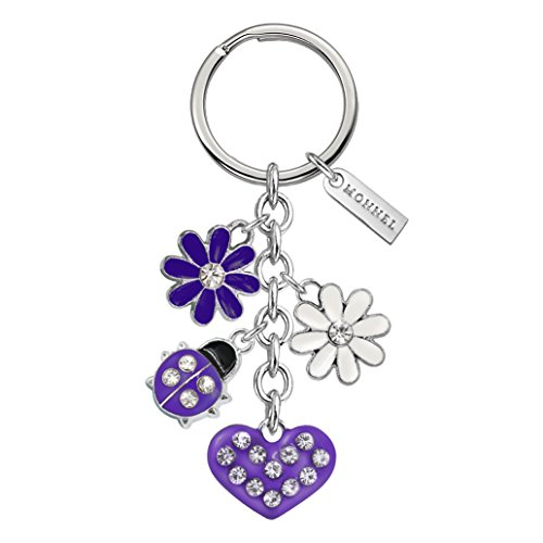 - Monnel Brand New Purple Ladybug Heart Keychain with Velvet Bag Z492
