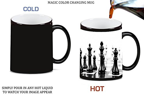 Chess Black and White Magic Color Morphing Ceramic Coffee Mug Tea Cup by Moonlight Printing