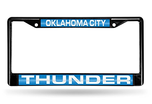 Oklahoma City Thunder Laser Black License Plate Frame
