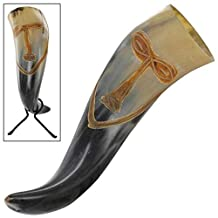 Vroulike Tribal Face Drinking Horn with Hand Forged Rack