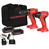 POWERWORKS 20V Cordless Drill/Driver and Impact Driver Combo Kit with (2) Batteries, Charger, and Bag CKG302