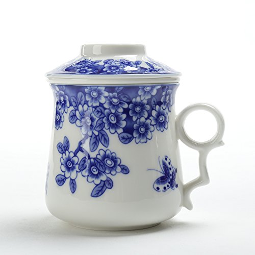 Japanese Tea-Mug(13.7oz)with Strainer and Lid,TEANAGOO-Neptune,Portable Ornament infuser,Infused Tea-Cup Set,Brewing Filter, Large Steeper Men Mom Home Decor, Dishwasher Safe Lead-free,Kitchen Maker