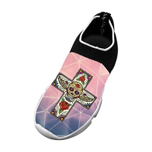 Sugar Skull Cross 3D Printing Children's Slip-on Flyknit Outdoor Sport Shoes