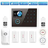 GSM WiFi Home Security Alarm System, TINGPO GPRS Wireless Burglar Alert Wi-Fi SMS Calling Alarms with 6 Door Sensors, 2 Motion Detectors, 1 SOS Call Button, 1 Doorbell Button and 2 Remote Fobs