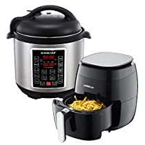 GoWISE USA 3.7-Quart 8-in-1 Digital Touchscreen Air Fryer (Black, GW2821) + Recipe Book AND GoWISE USA 6-Quart 10-in-1 Electric Pressure Cooker (Stainless Steel, GW22620) + Recipe Book
