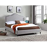"""Home Life Cloth Light Grey Silver Linen 51"""" Tall Headboard Platform Bed with Slats King - Complete Bed 5 Year Warranty Includ"""