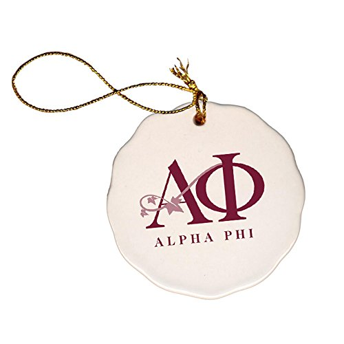 Express Design Group Greekgear Alpha Phi Christmas Snowball Ornament with Logo White