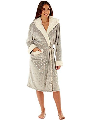 corallo Robe con panno Trim Donne Foil del morbido Grey Sherpa Spot scintillio di Accappatoio cappuccio Glitter dzppwnqtXT