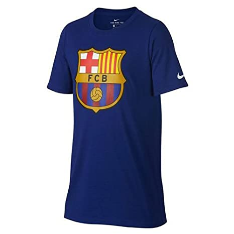 b1231e49f Amazon.com   Nike Youth FC Barcelona Crest T-Shirt  DEEP Royal Blue     Clothing