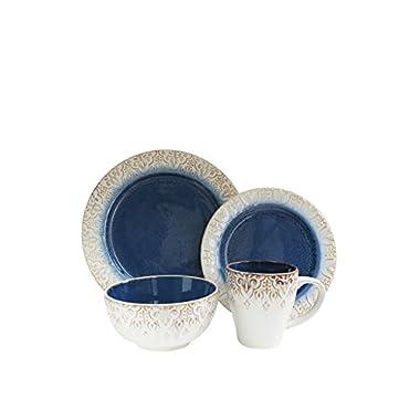 American Atelier 16 Piece Granada Round Dinnerware Set, Blue