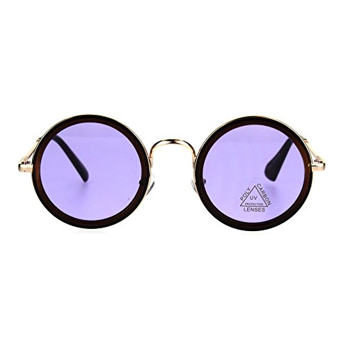 Mens Round Circle Lens Victorian Vampire Hippie Sunglasses Brown Gold - Victorian Sunglasses