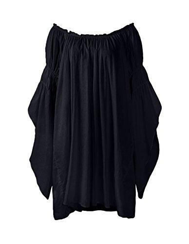 ReminisceBoutique Renaissance Medieval Peasant Dress up Pirate Faire Celtic Blouse (Small, Black) (Clothing Peasants Medieval)