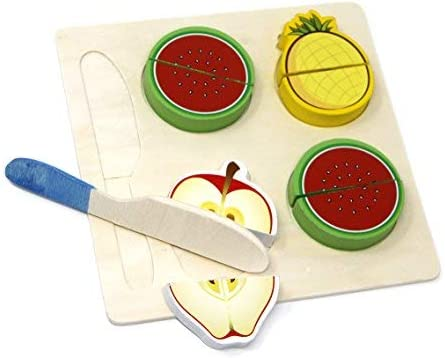 Fusine 4 Pcs Wooden Assorted Realistic Sliceable Fruits, Vegetables, Knife Cutting Pretend Play Toy Set, Multi Color