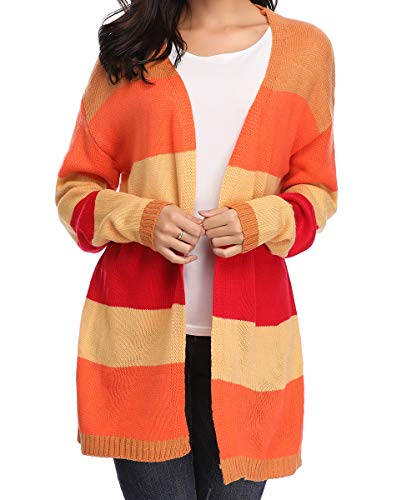 Women's Long Sleeve Rainbow Color Block Open Front Drape Knitted Sweater Cardigan with Pockets Medium
