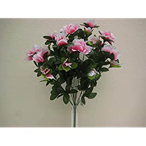 JumpingLight Pink Azalea Bush 12 Artificial Silk Flowers 19'' Bouquet 7733PK Artificial Flowers Wedding Party Centerpieces Arrangements Bouquets Supplies 39
