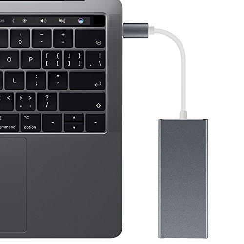 ElementDigital USB C HDMI Hub Adapter for MacBook 7 in 1 USB 3.1 USB-C to type C Charge Port 4K HDMI Output SD Micro SD Card Reader 3 USB 3.0 Charging Ports (Black) by ElementDigital