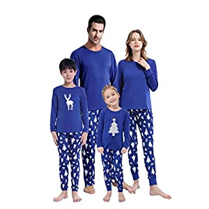 MyFav Matching Family Christmas Pajamas Set Soft Cotton Clothes Sleepwear