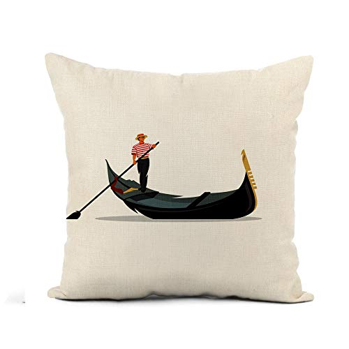 Awowee Flax Throw Pillow Cover Venice Gondola Gondolier Rowing Oar Sign Italy Travel Italian 16x16 Inches Pillowcase Home Decor Square Cotton Linen Pillow Case Cushion Cover