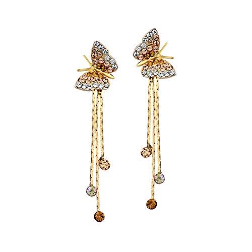 Gold Plated Titanium Earrings (Neoglory 14k Gold Plated Rhinestone Yellow Drop Dangle Earring, Orange )
