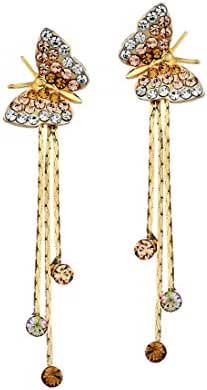 Neoglory 14k Gold Plated Rhinestone Yellow Drop Dangle Earring