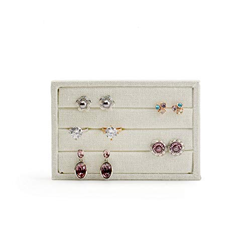 Oirlv linen 3 Slots Ring Earrings Display Trays Showcase Jewelry Organizer (creamy-white,rectangle ) by Oirlv (Image #3)