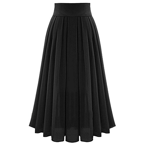 Long Skirt Women Solid Color High Waist Shirring Fashion Ankle-Length Maxi Skirt (S, Black2)