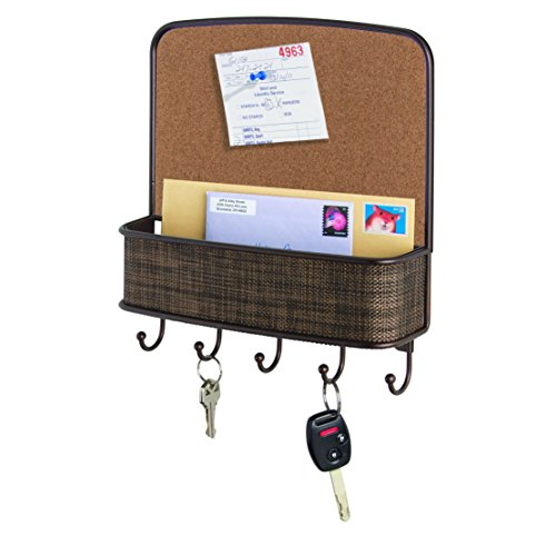 Organizers Bulletin Board (InterDesign Twillo Cork Board, Mail Holder and Key Rack Organizer – Wall Mounted Letter Shelf and Key Hooks for Entryway or Kitchen, Bronze)
