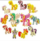 Top Valu 12pcs (1 Dozen) Fast Ship Set My Little Pony Cake Toppers Cupcake Toys PVC Figurines Decoration Life Ornaments Gift Birthday Function Party