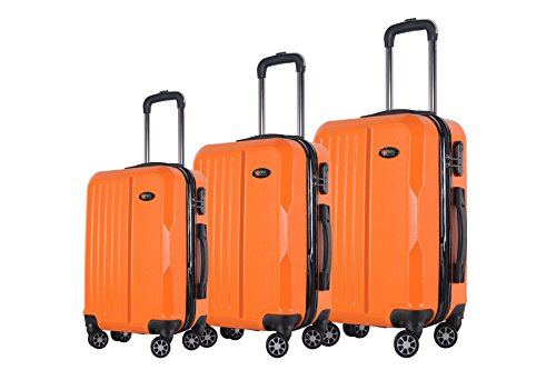 3-Piece Hardside Spinner Expandable Suitcase Set #1701 Orange (Orange Small Rolling Luggage)