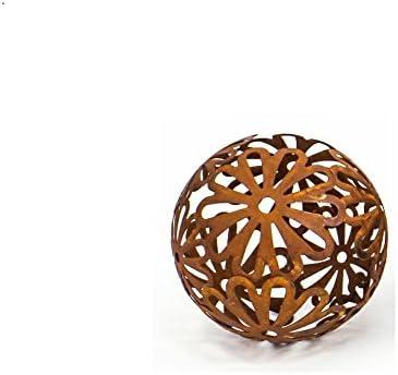 Cornbay Dekokugel Flores 25 cm Metall Rostbraun