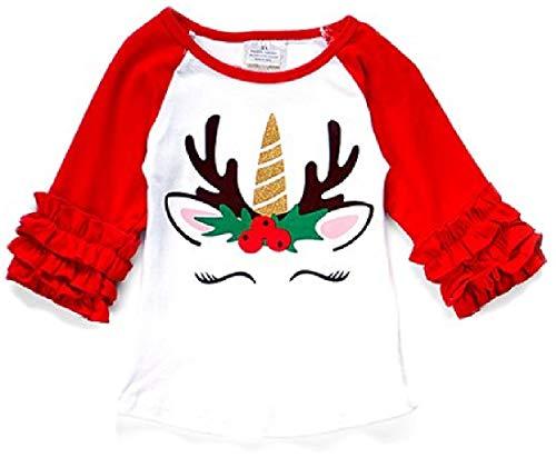 BluNight Collection Little Girl Kids Back to School Raglan Cotton Christmas Top Tee T-Shirt Size 2-8