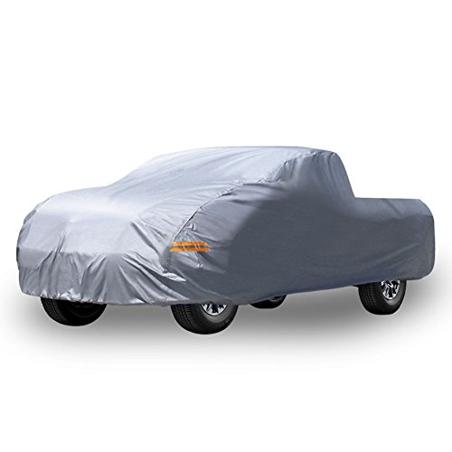 """YITAMOTOR All Weather Protection Waterproof Pickup Truck Cover Universal Fit Breathable Rain Sun UV Rays Snow Dustproof Outdoor (Fit up to 264"""" L, Silver)"""