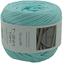 Charmkey Zpagetti T Shirt Yarn Strong Recycled Cotton Blend Ribbon 6 Super Chunky Elastic Knitting Cloth Fabric for Bag Cushion and DIY Crocheting Projects, 1 Skein, 8.82 Ounce (Moonlight Jade)