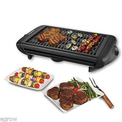 Electric Indoor Grill Portable Smokeless Kitchen Non Stick Cooking BBQ Griddle (Best Patio Heaters Reviews)