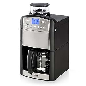 Klarstein Aromatica • Máquina de café • Máquina con filtro • Filtro de carbono • Antigoteo • Molino • 3 aromas: suave, medio e intenso • Temporizador 24 hs • 10 tazas • Filtro dorado • Plata