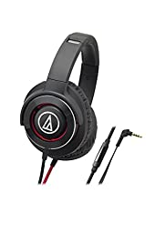 Audio-Technica ATH-WS770iSBRD Solid Bass Over-Ear Headphones, Black/Red