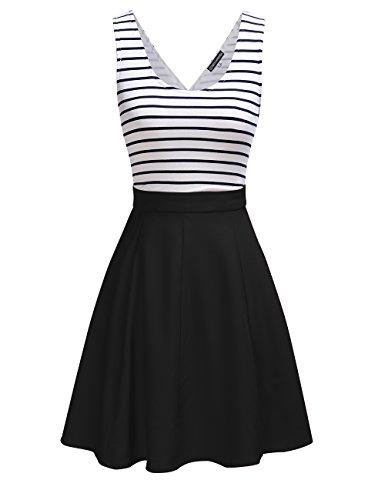 Omeya Womens Sexy Open Back Cocktail Slim Black White Striped Mini Dress (M, Black)
