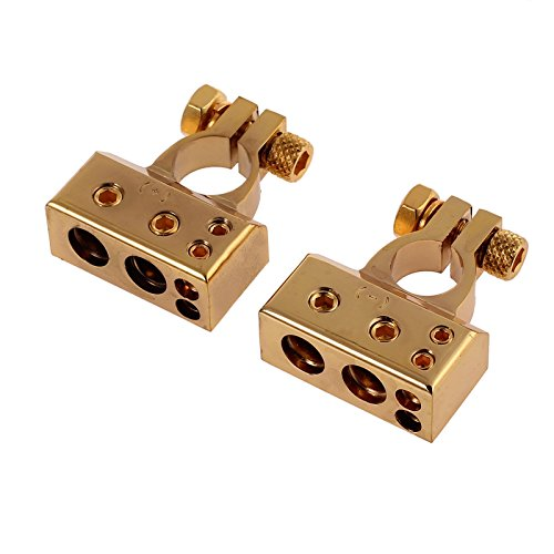 Zivisk 4/8 Awg Battery Terminal, 2 PCS Positive Negative Platinum Gold For Auto Car Marine Boat (Gold Car Battery Terminals)