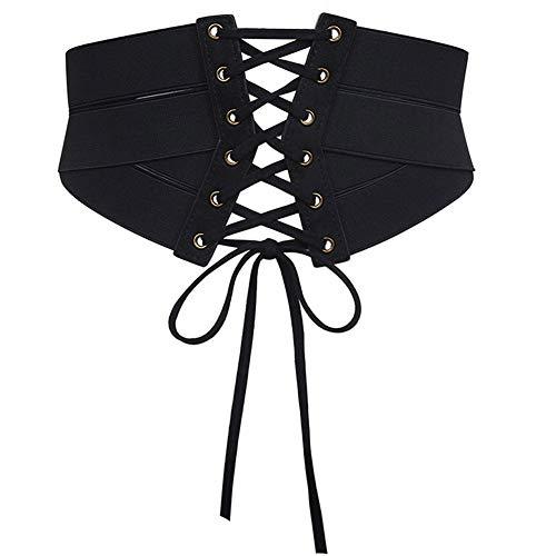 Aecibzo Women's Elastic Stretch Wide Band Waspie Corset Waist Belt (S/Fit Waist 27.5