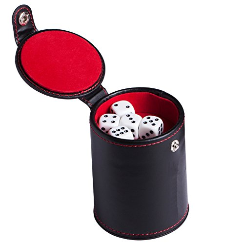 Professional Double Layers Faux Leather Dice Cup Set with 5 Dice for Most Dice Games
