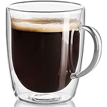 17 oz Large Coffee Mug - Double Wall Insulated Glass, Unique Gift Set of 2. Keeps Hot Or Cold Drinks Longer - Clear Coffee Mugs - JECOBI