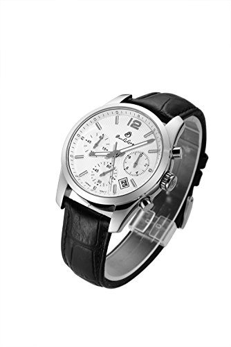 Men Night Vision Chronograph Waterproof Synthetic Sapphire Black Leather Band White Japanese Quartz Watch