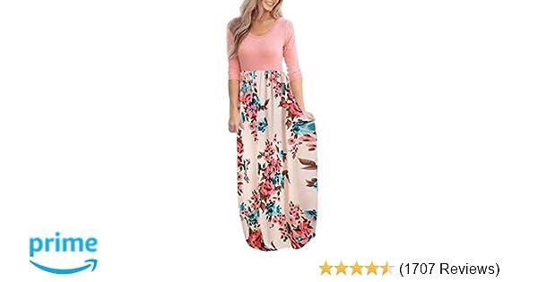 84e7465823ee5 DUNEA Women's Maxi Dress Floral Printed Autumn 3/4 Sleeve Casual Tunic Long  Maxi Dress at Amazon Women's Clothing store: