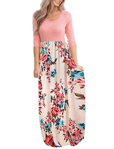 DUNEA Women's Maxi Dress Floral Printed Autumn 3/4 Sleeve Casual Tunic Long Maxi Dress (Large, Peach)