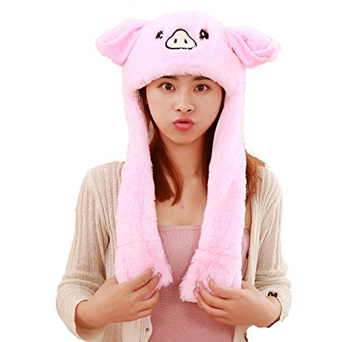 HYYER Pig Hat Cap Animal with Airbag Jumping Ear Movable Plush TIK Tok Gift DOUYIN -