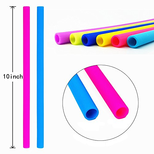Silicone Straws for 30 OZ Yeti/Rtic Tumblers, Reusable Wide Extra Long Flexible Straight Smoothies Drinking Straws with Cleaning Brushes Bundle 6 Pack