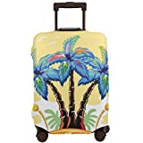 Travel Luggage Cover,Cartoon Tropical Island with Hawaiian Palm Trees Torch Seagulls at Sunset